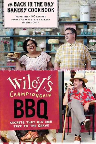 Book covers of The Back in the Day Bakery Cookbook and Wiley's Championship BBQ