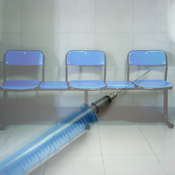 Vaccine syringe and hospital waiting room chairs, photos © FreeImages/Danilevici Filip-E. and Tulay Palaz