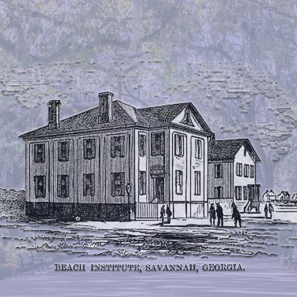 Wood engraving of the Beach Institute, © 1868